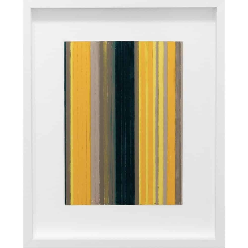 """Vicky Christou, """"Colour Study - Yellow Green 1"""", 2014, Acrylic on Paper, 15.5 x 12.5 in. - Newzones Gallery, Calgary"""