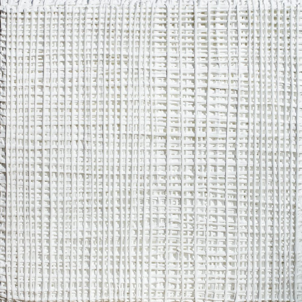 """Vicky Christou, """"White Grid 1"""", 2015, Acrylic on Panel, 12 x 12 in. - Newzones Gallery, Calgary"""