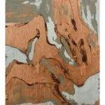 "Yechel Gagnon, ""Terrestrial Fugue I"", 2016, custom carved plywood, 40 x 36 inches - Newzones Gallery, Calgary"