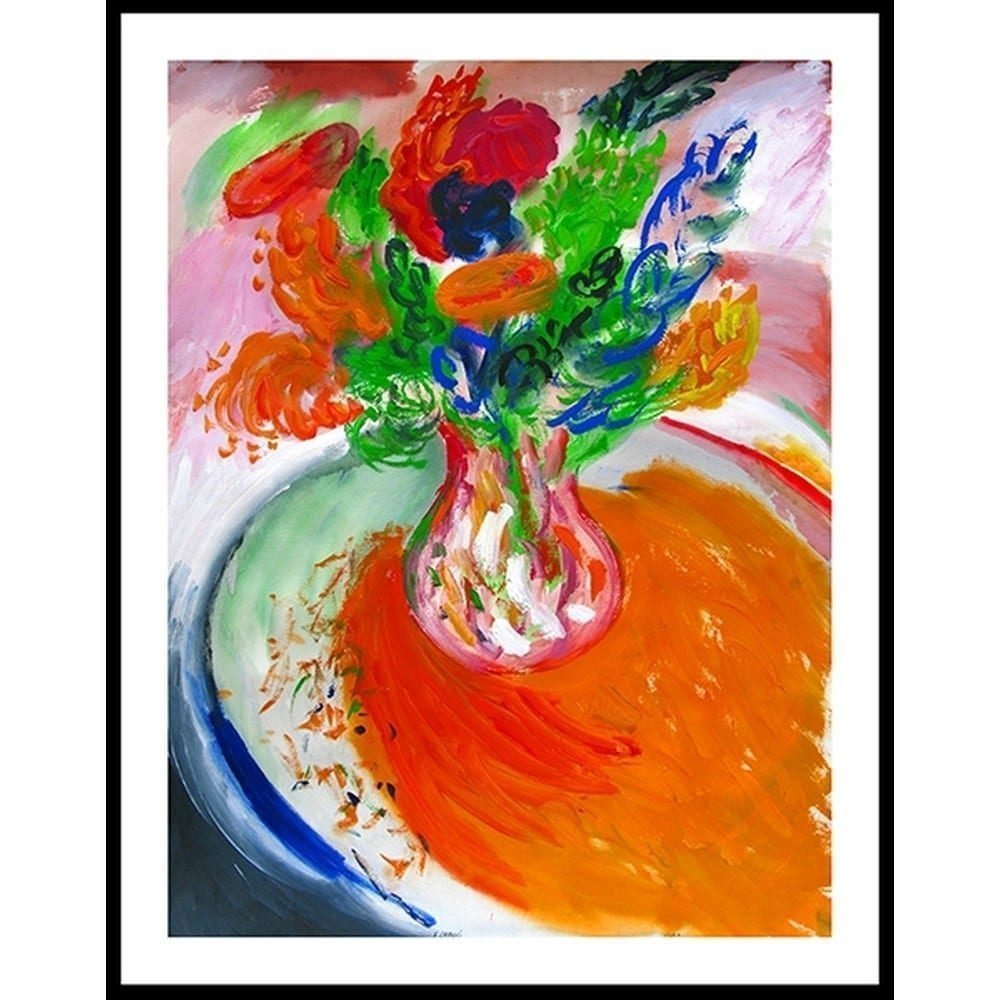 """Chaki, """"Flowers 235-A"""", Framed, 1995, Acrylic on Paper, 44.5 x 34 in. - Newzones Gallery, Calgary"""