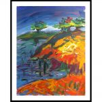 """Chaki. """"Spring Landscape 8182-A"""", 1991, Acrylic on Paper, 44 x 34 in. - Newzones Gallery, Calgary"""