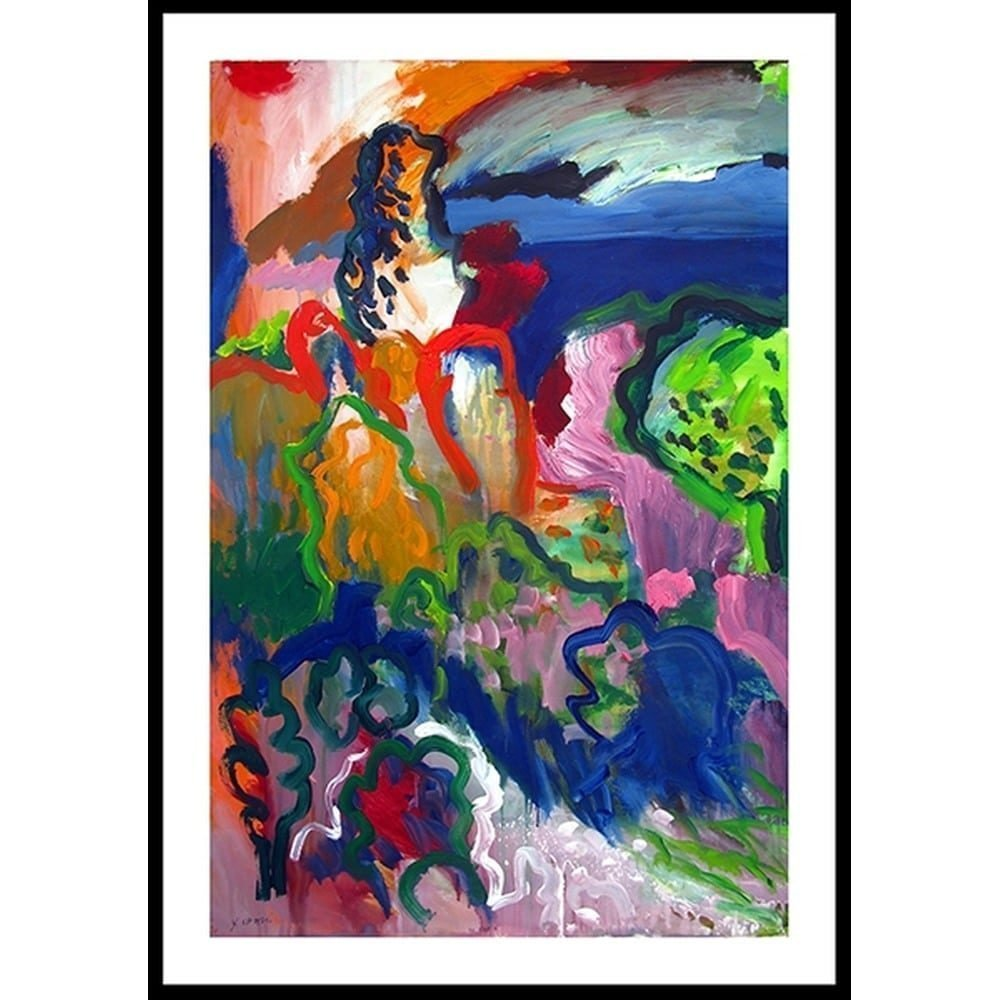 """Chaki, """"Spring Landscape 8365-A"""", 1992, Acrylic on Paper, 47 x 31 in. - Newzones Gallery, Calgary"""