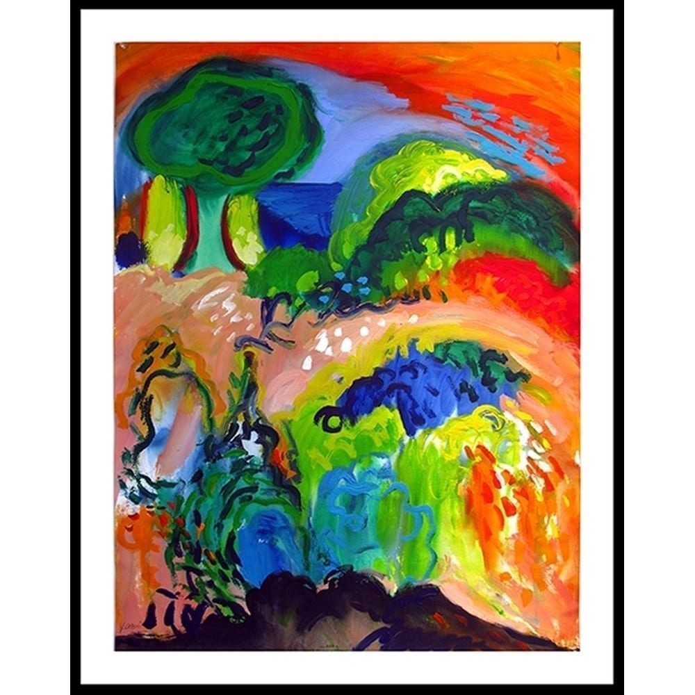 """Chaki, """"Spring Landscape 8384-A"""", 1992, Acrylic on Paper, 44 x 34 in. - Newzones Gallery, Calgary"""