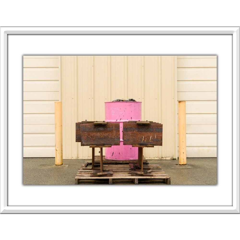 "Stuart McCall,"" Industrial Landscapes, Pink Barrel"", 2008 - Newzones Gallery, Calgary"