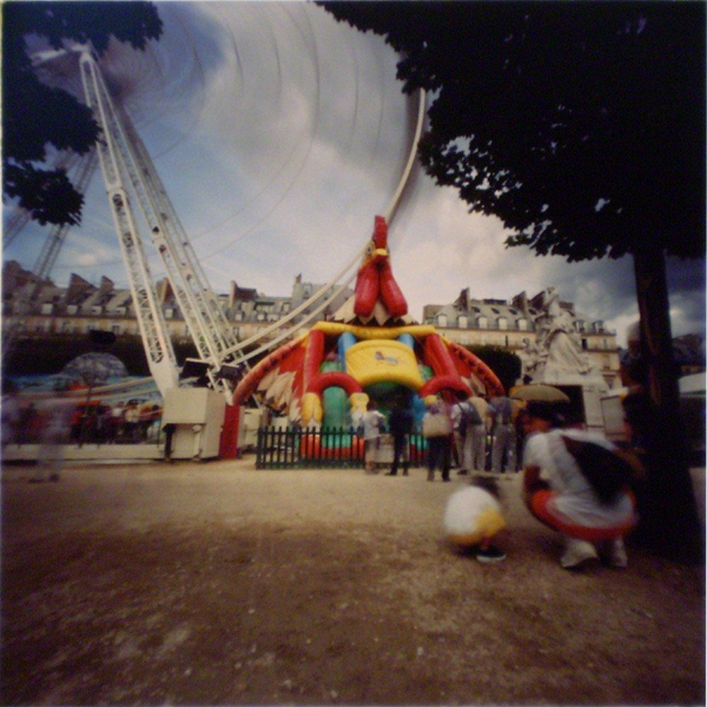 Dianne Bos, Chicken Ferris Wheel Paris, 2001, 18x18