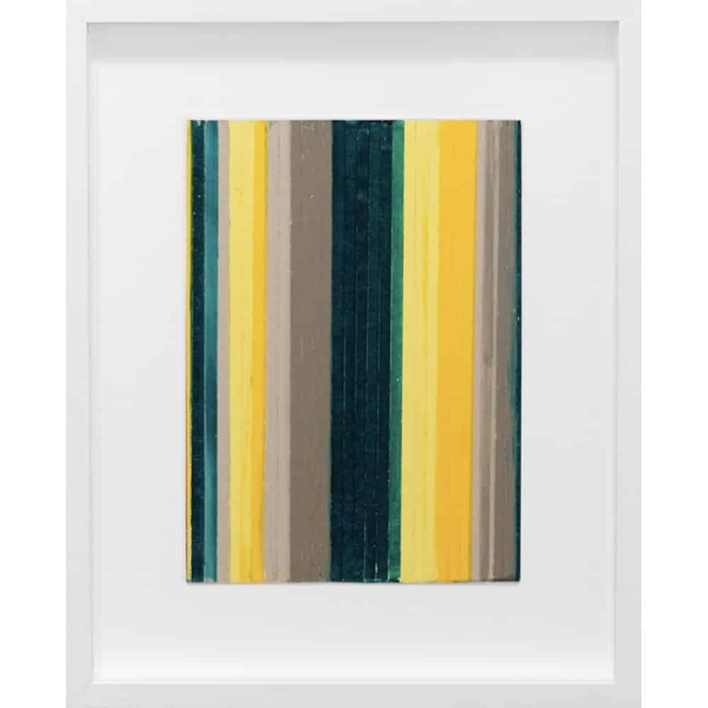 """Vicky Christou, """"Colour Study - Yellow Green 2"""", 2014, Acrylic on Paper, 15.5 x 12.5 in. - Newzones Gallery, Calgary"""