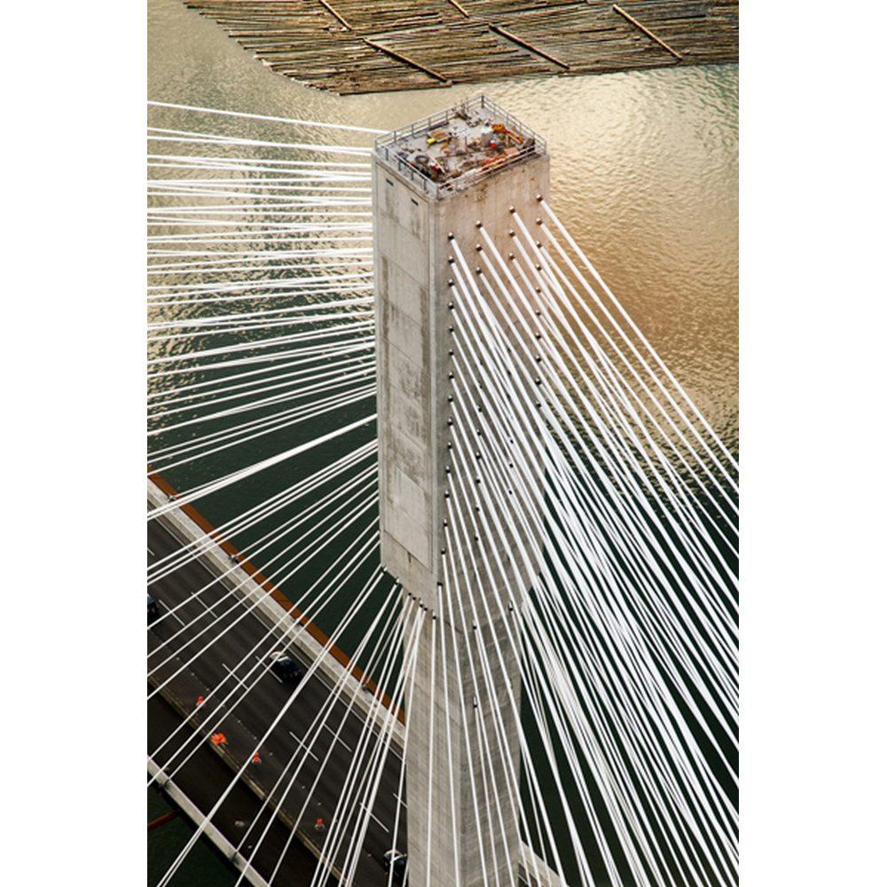 "Stuart McCall, ""Port Mann Bridge, Aerial View of North Tower"", 2011 - Newzones Gallery, Calgary"