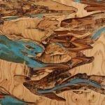 "Yechel Gagnon, ""les veins de la terre"", 2018, custom carved plywood, 30x30 - Newzones Gallery, Calgary"