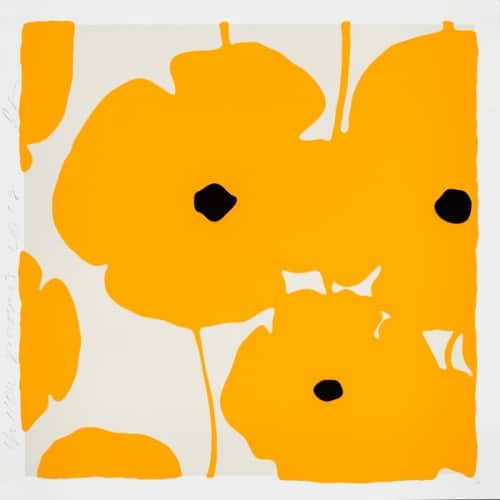 """Donald Sultan, """"Yellow Poppies"""", 2018 ed./40, Colour Silkscreen, Enamel Inks, Flocking and Tar-like texture on Museum Board, 39 x 39 in. - Newzones Gallery, Calgary"""