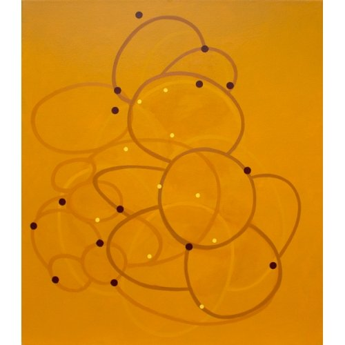 """Geoffrey Hunter, """"Study Tantra (Yellow)"""", 2018, Acrylic and Oil on Canvas, 40 x 35 in. - Newzones Gallery, Calgary"""