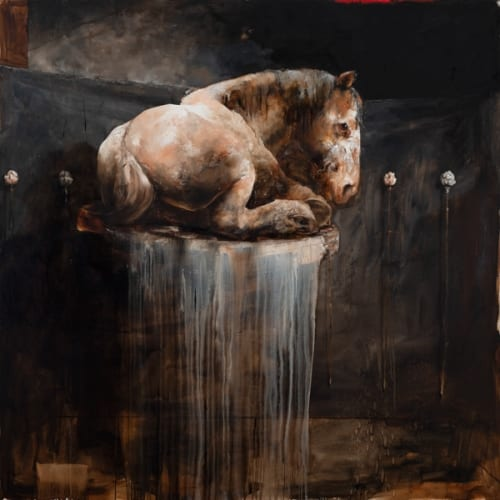 """Kevin Sonmor, """"Nocturne"""", 2018, Oil on Linen, 72 x 72 in. - Newzones Gallery, Calgary"""