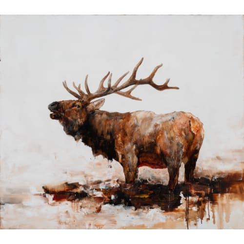 "Kevin Sonmor, ""Three Mile Bark"", 2018, Oil on Linen, 44 x 50 in. - Newzones Gallery, Calgary"