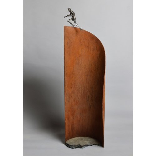 "David Robinson, ""Event Horizon"", 2018, ed/6, bronze, steel, cement, 63 x 18x12 at Newzones Gallery, Calgary Canada"