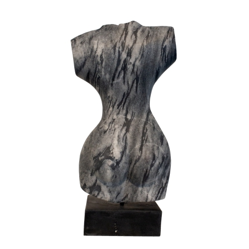 """Evelyne Brader-Frank, """"Urania the Muse of Astronomy and Astrology"""", 2018, black and white marble - view 3 at Newzones Gallery, Calgary Canada"""