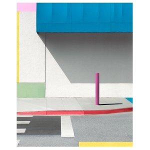 """George Byrne, """"Blue Awning with Pink"""", 2017, 56x45 inches, ed/5, at Newzones Gallery, Calgary Canada"""